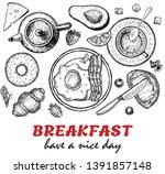 healthy breakfast frame.... | Shutterstock .eps vector #1391857148