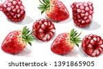 raspberry and strawberry vector ... | Shutterstock .eps vector #1391865905