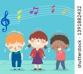 illustration of kids nodding... | Shutterstock .eps vector #1391882432