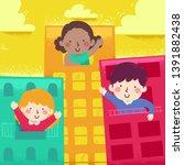 illustration of kids waving... | Shutterstock .eps vector #1391882438