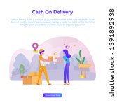 vector illustration of cash on... | Shutterstock .eps vector #1391892938