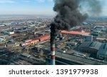 carbon dioxide emissions. black ... | Shutterstock . vector #1391979938