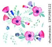 hand drawn watercolor flowers.... | Shutterstock . vector #1391985122