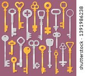 vector set of hand drawn... | Shutterstock .eps vector #1391986238