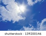 blue sky with clouds and sun. | Shutterstock . vector #139200146