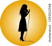 girl as a singer with... | Shutterstock .eps vector #1392012548