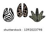 set of paw print  zebra ... | Shutterstock .eps vector #1392023798