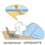 the man fell asleep at the... | Shutterstock .eps vector #1392024578