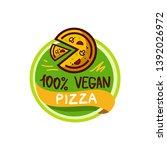 vegan pizza logo icon sticker...   Shutterstock .eps vector #1392026972