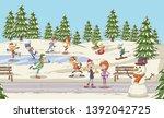 cartoon people having fun in... | Shutterstock .eps vector #1392042725