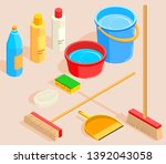 cleaning tools icon set... | Shutterstock .eps vector #1392043058