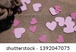 Pink Hearts Scattered On Burlap
