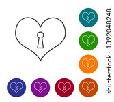 grey heart with keyhole line... | Shutterstock .eps vector #1392048248