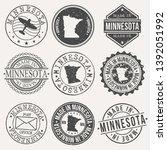 minnesota set of stamps. travel ... | Shutterstock .eps vector #1392051992