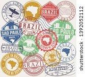 sao paulo brazil set of stamps. ... | Shutterstock .eps vector #1392052112