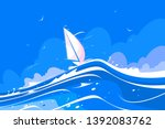 White Sailing Yacht Vector...