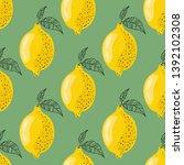 seamless pattern with lemons on ...   Shutterstock .eps vector #1392102308