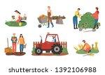 farmers working on field vector ... | Shutterstock .eps vector #1392106988