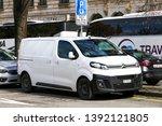 Small photo of Geneva, Switzerland - March 13, 2019: White cargo van Citroen Jumpy in the city street.