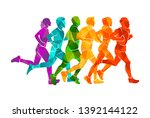 running marathon  people run ... | Shutterstock .eps vector #1392144122