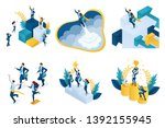 isometric set of concepts on... | Shutterstock .eps vector #1392155945