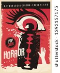 horror movie poster design with ... | Shutterstock .eps vector #1392157175