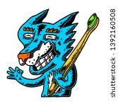 fox. bamboo toothbrush. fox...   Shutterstock .eps vector #1392160508