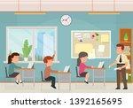 classroom with kids. teacher or ... | Shutterstock .eps vector #1392165695
