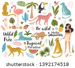 tropical exotic set with leaf ... | Shutterstock .eps vector #1392174518
