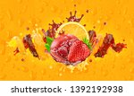 fresh orange  strawberry ... | Shutterstock . vector #1392192938