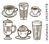 vector hand drawn set of coffee.... | Shutterstock .eps vector #1392199778