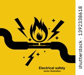 black icon wire is burning.... | Shutterstock .eps vector #1392338618
