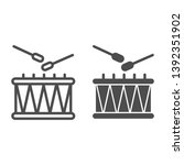 drum and sticks line and glyph... | Shutterstock .eps vector #1392351902