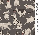 Seamless Pattern With Cute Dogs....