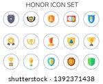 honor icon set. 15 flat honor... | Shutterstock .eps vector #1392371438