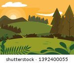 day landscape with pines trees... | Shutterstock .eps vector #1392400055
