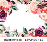 greeting card with watercolor... | Shutterstock . vector #1392403412