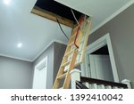 Folding Attic Ladder. Wooden...