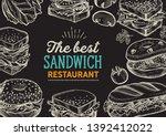 sandwich illustration   bagel ... | Shutterstock .eps vector #1392412022