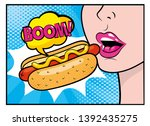 Woman Eating Hot Dog With Boom...