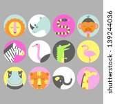 set of safari animal icons | Shutterstock .eps vector #139244036