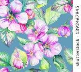 apple tree flowers watercolor... | Shutterstock . vector #1392467945