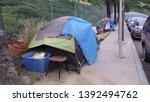 Homeless Camp On A Sidewalk In...