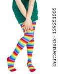 Female Wearing Rainbow Colored...
