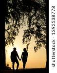 lovers walk on nature.... | Shutterstock . vector #1392538778