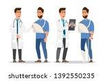set of sick people cartoon... | Shutterstock .eps vector #1392550235