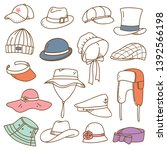set of hats doodle isolated on... | Shutterstock .eps vector #1392566198