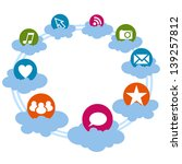 social icons on the cloud | Shutterstock .eps vector #139257812