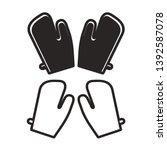 black and white gloves isolated ... | Shutterstock .eps vector #1392587078