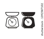 black and white kitchen scale... | Shutterstock .eps vector #1392587102